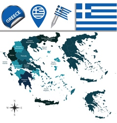 Greece map with named divisions vector image