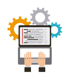 Hands of programmer working web programming vector