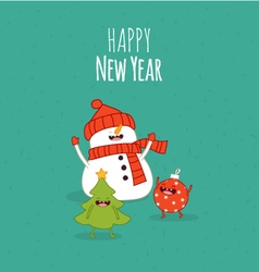 Happy NewYear card Snowman vector image