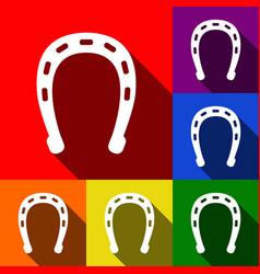 horseshoe sign set of icons vector image