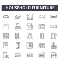 Household furniture shop line icons signs vector