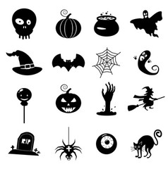 icon set helloween- witch hat grim reaper vector image