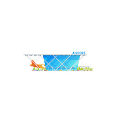 International airlines airport terminal and plane vector