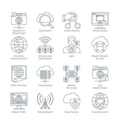 Internet and network thin line icons vector