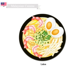 Laksa or Malaysian Rice Noodle in Spicy Soup vector image