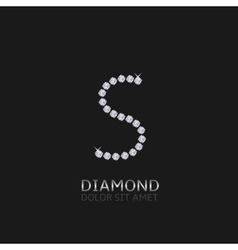 Letter S with gemstones vector