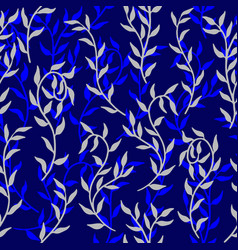 liana spreads blue leaves creeper seamless pattern vector image