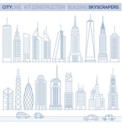line set city tower buildings and skyscrapers vector image