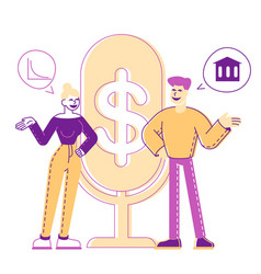 male and female characters money talks people vector image