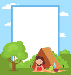man in tent and filling form vector image
