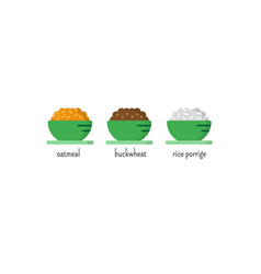 Oatmeal buckwheat and rice porridge vector