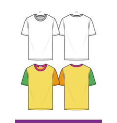 over fit tee shirt fashion flat technical drawing vector image