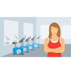 Personal fitness trainer woman in gym vector