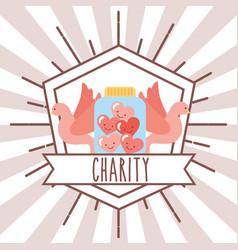 pigeons jar hearts retro emblem charity image vector image
