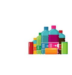 plastic beverage bottles icon set bottled cold vector image