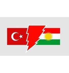 Politic relationship between Kurdistan and Turkey vector