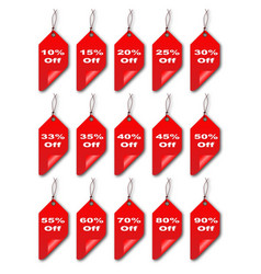 red curled discount tags vector image
