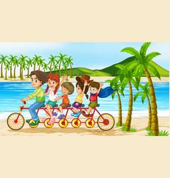 Scene with family riding bike along ocean vector