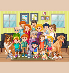 scene with people staying at home with family vector image