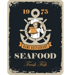 seafood restaurant with maritime cook vector image
