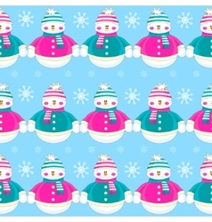 Seamless christmas cute funny snowmen vector