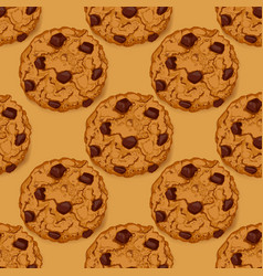 Seamless pattern with chocolate chip cookies vector