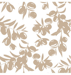 seamless pattern with hand drawn olive tree vector image