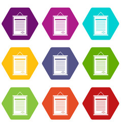 sertificate icon set color hexahedron vector image