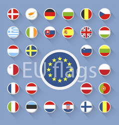 set european union flags flat design vector image