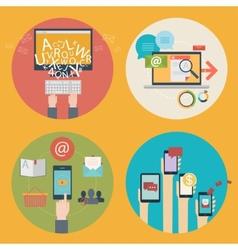 set flat design concept icons for blogging web vector image