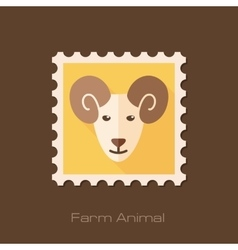 Sheep flat stamp Animal head vector