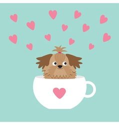 Shih Tzu dog sitting in white cup with heart Cute vector