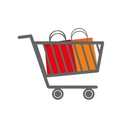 shopping cart bag commerce icon graphic vector image
