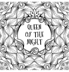 Sign frame with inscription queen of the night on vector