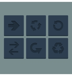 Simple grey stamp flat arrow icons set Web vector
