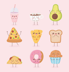 Smoothie cup chocolate pizza cheese bread donut vector