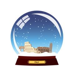 Snow globe city rome in snow globe italy winter vector