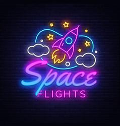 space flights neon text neon sign vector image