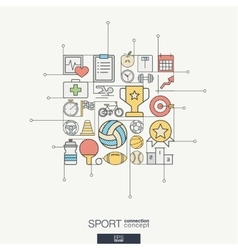 Sport integrated thin line symbols Modern color vector