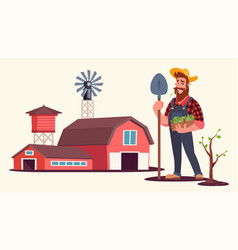 spring seasonal work on farm flat vector image