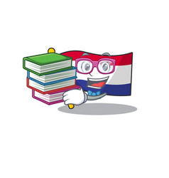 Student with book netherlands flag above wooden vector