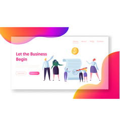 successful agreement business cooperation web page vector image