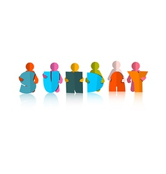Sunday Colorful Title - Paper Cut People and vector image