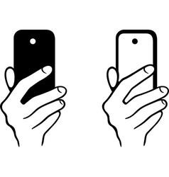 Taking selfie photo on smartphone vector