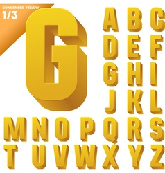 Three-dimensional condensed alphabet vector