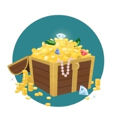 Treasure Chest With Golden Coins vector image