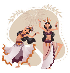 Tribal intertribal dancer woman character in vector