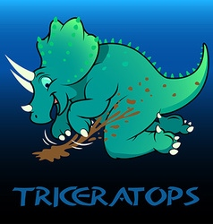Triceratops cute character dinosaurs vector image vector image