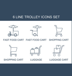 Trolley icons vector