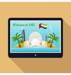 United Arab Emirates Travelling Banner on Tablet vector